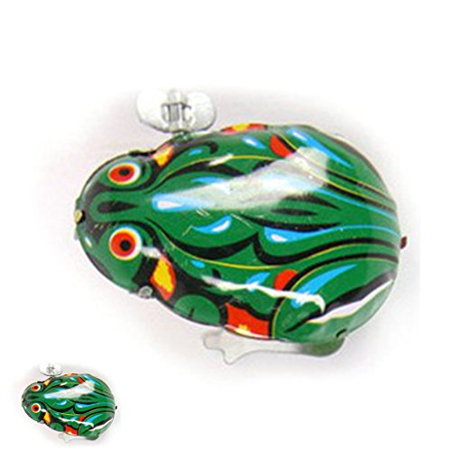 yournameI Clockwork Toy, Vintage Metal Wind-up Jumping Frog Clockwork Tin Toys Tin Frog