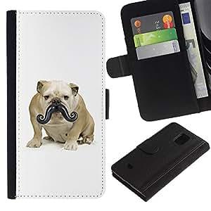 Stuss Case / Funda Carcasa PU de Cuero - Moustache Bulldog Small Dog Funny - Samsung Galaxy S5 Mini, SM-G800