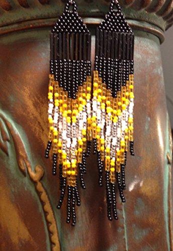 Chevron Fringe - Yellow & Black Pittsburgh Football Inspired Chevron Fringe Earrings