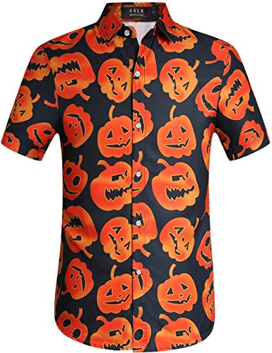 SSLR Men's Fun Pumpkins Button Down Short Sleeve Halloween Shirt (Small, Black) -