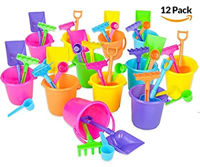 """Beach Bucket and Shovel Set - (Pack of 12) Party Favor Sand Box Play Set and Beach Sand Pail Includes 3-1/4"""" Tall Bucket, Shovel, Rake, Scoop Beach Sand Toy for Birthday or Mermaid Theme - By Bedwina"""