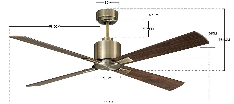Messing Antik Lucci air Airfusion Climate DC Deckenventilator mit Fernbedienung 6 Stufen 35 W Sommer//Winter Lauf energiesparende Technologie