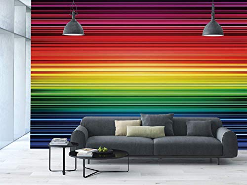 (Funky Wall Mural Sticker [ Abstract,Digital Rainbow Stripes with Gradient Neon Effects Featured Horizontal Bands Print,Multicolor ] Self-adhesive Vinyl Wallpaper / Removable Modern Decorating Wall Art)