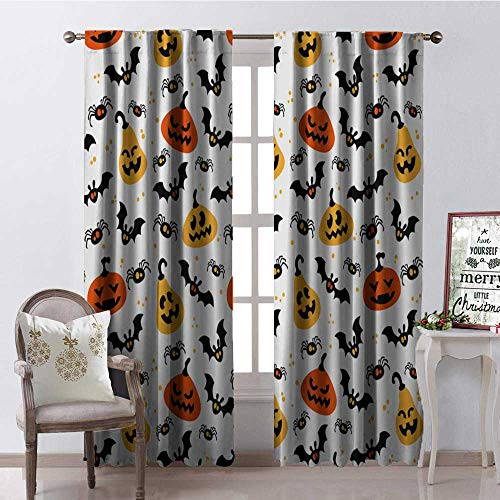 Hengshu Halloween Pumpk Bat Spider Thermal Insulating Blackout Curtain Blackout Draperies for Bedroom W72 x L84]()