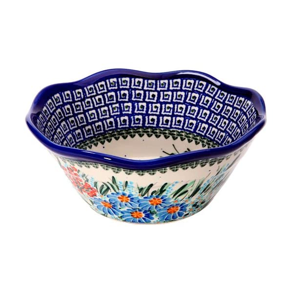 Polish Pottery Ceramika Boleslawiec 0423/169 Royal Blue Patterns with Blue Daisy and Orange Phlox Motif Bowl Viki 1, 3-1/4-Cup