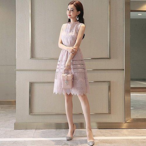 d't de Femme Longue Nouvelle MiGMV Mince l't fminins 2018 Jupe Pink Manches Une corenne Robe Version sans Robe L Mince Dentelle l'usure qwUUxIpBT