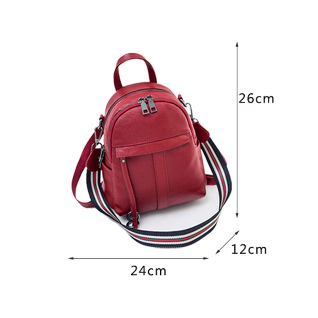 KIMSAI Wild Fashion Ladies Small Backpack Leather Female Backpack First Layer Leather Soft Leather Bag Multifunctional Backpack Simple Casual Student Bag,Red,241226CM