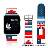 MoKo Band for iWatch Series 3, Soft Silicone Replacement Sports Strap + Watch Lugs for iWatch 38mm 2017 Series 3 / 2 / 1, Dark Cerulean & Patchwork Flag (Not fit 42mm Versions)