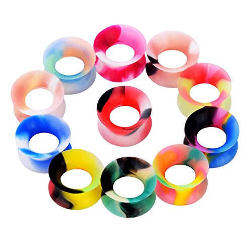 Longbeauty 11 Pair Thin Silicone Ear Skin Flexible Flesh Tunnel Expander Ear Gauge Plugs Earlets 11 Colors 12mm 1/2
