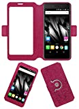 Acm SVIEW Window Designer Rotating Flip Flap Case for Micromax Bolt Supreme 2 Q301 Mobile Smart View Cover Stand Pink