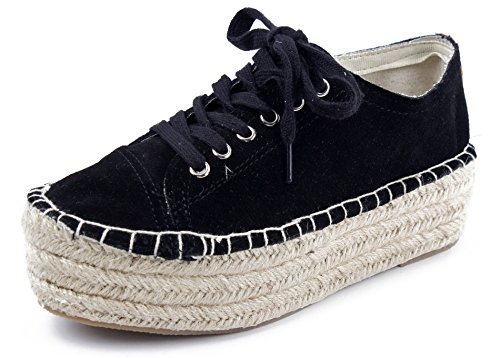 AgeeMi Shoes Women's Espadrilles Pumps Shoes Canvas Cloth Shoes With Hemp Rope Black(EuD39)