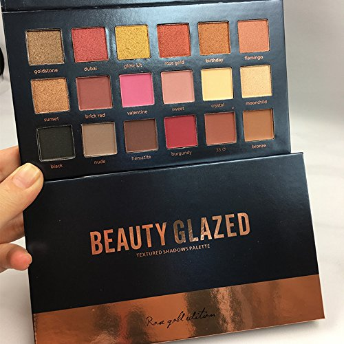 Beauty Glazed 18 Colors Shimmer Rose Gold Textured Eyeshadow Palette Makeup Contour Metallic Eye Shadow Natural Pigmented Nude Naked Smokey Professional Cosmetic