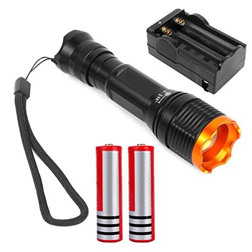New 1800 Lumen Waterproof CREE XM-L T6 LED Zoomable Flashlight Torch Zoom Lamp With Batteries and Charger
