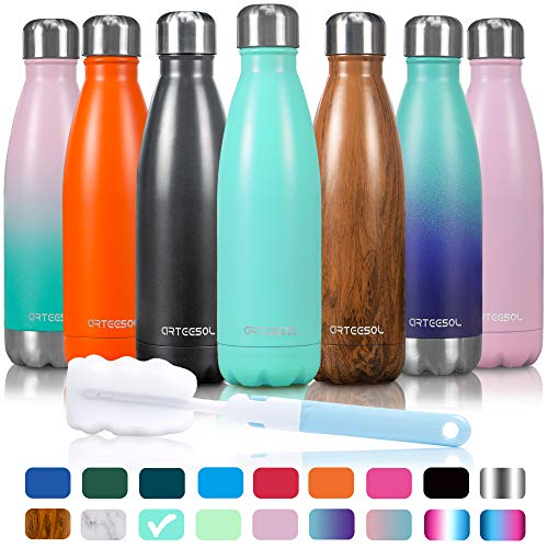 (Arteesol Water Bottle - Cola Shape Bottle - Double Wall Vacuum 18/8 Stainless Steel - Leakproof Keep Hot & Cold - Personalized Texture - 3 Sizes in 37 Styles (blue, 25 oz/ 750ml))