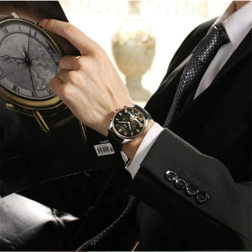 Montres Homme Automatique Tourbillon Mécanique Montre-Bracelet Étanche Tendance Watch,A B