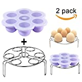 Silicone Egg Bites Molds Set,DELIWAY Baby Food Storage Trays with Lid PLUS Stainless Steel Egg Steam Rack for Instant Pot Accessories 5/6/8 qt(Purple)