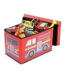 Children's Toy Box Kids Storage Bench, Soft Vinyl Fire Truck Foldable Toy Chest Organizer