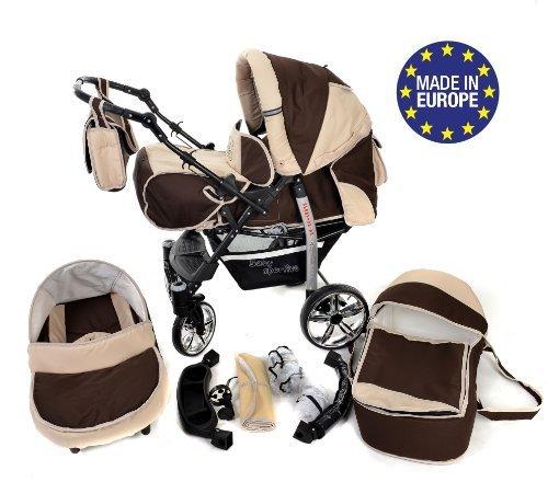 Sportive X2 - Sistema de viaje 3 en 1, silla de paseo, carrito con capazo y silla de coche, RUEDAS GIRATORIAS y accesorios (Sistema de viaje 3 en 1, marrón, ...