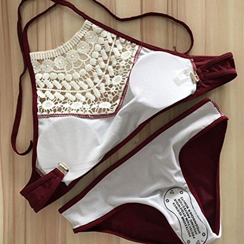 Trajes de baño para mujer,RETUROM Bikini de sostén rellenado Push-up de las mujeres del nuevo estilo de las mujeres de las mujeres Vino