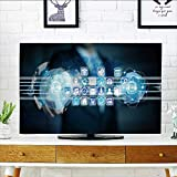 Philiphome tv dust Cover Man on Blurred Background Connect Worlds to Icons Dust Resistant Television Protector W36 x H60 INCH/TV 65''