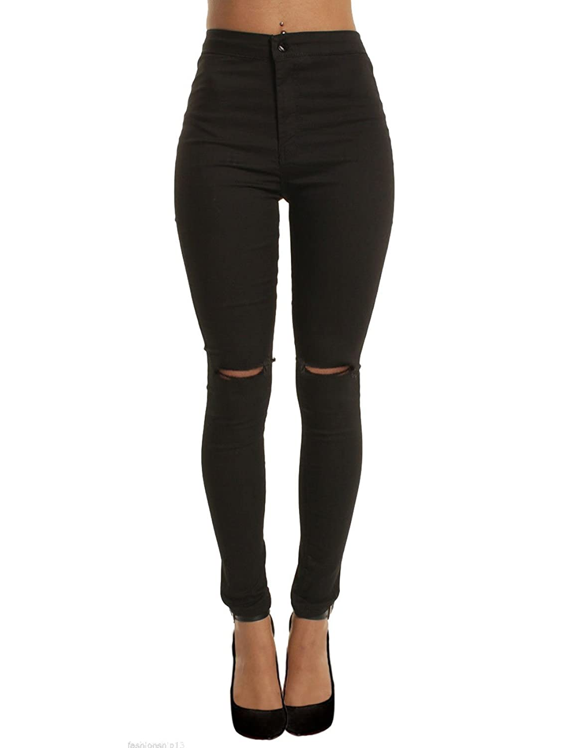 cf0d83ca61856 Women Classic High Waisted Jegging Ripped Knee Stretchy Skinny Pants ...