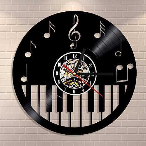 Cheap Piano Keyboard Vinyl CD Wall Clock Musical Instrument Wall Art Home Decor Eco-friendly Vintage Handmade Gift