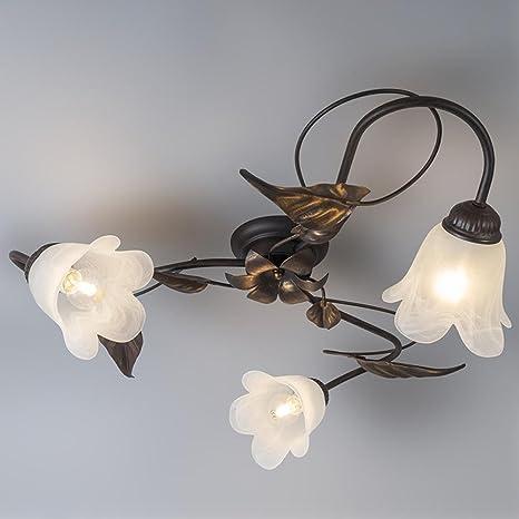 Clásico Rústico Vintage Rústico Plafón hojas lámpara de ...