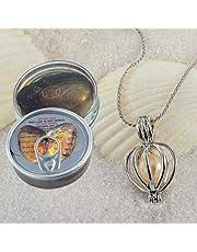 هدية الحب  مجموعة محار اللؤلؤ الطبيعي (لؤلؤ المياه العذبة) مع قلادة من الفضة لوضع لؤلؤة الحب