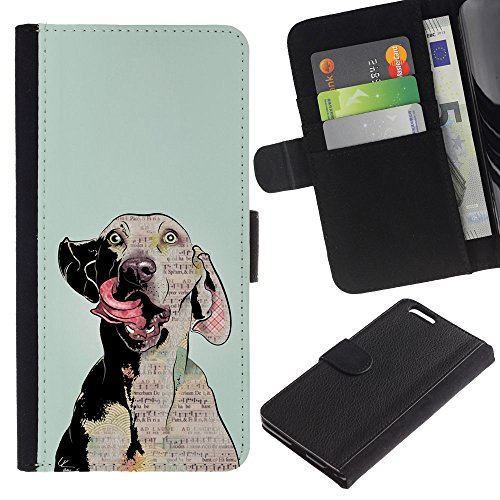 LASTONE PHONE CASE / Luxe Cuir Portefeuille Housse Fente pour Carte Coque Flip Étui de Protection pour Apple Iphone 6 PLUS 5.5 / Dog Art Weimaraner Crazy Eyes Grey
