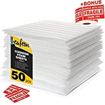 12 x 12 Foam Wrap Sheets for Packing Moving Shipping and Storage Supplies - Cushion Foam Wraps is Great Alternative to Air and Bubble Wrap - 50Pack