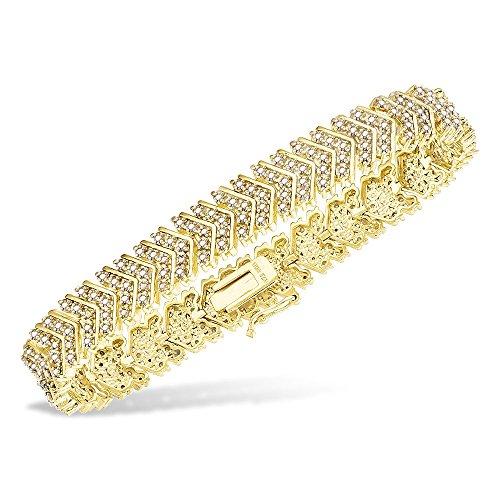 Jawa Fashion 14K Gold Bracelet Women - 2 Carat Diamond S Link Tennis Bracelet Yellow Color - Size 7 7.5 8 Inches (7.5 Inch)