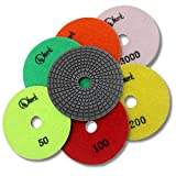 KENT 7 pcs 5'' Diameter Economy Quality 3mm WET Diamond Polishing Flexible Pads