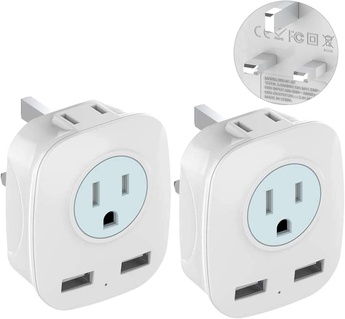 [2-Pack] UK Ireland Hong Kong Travel Plug Adapter with 2 USB Ports, International 2-Outlet Power Adapter, Outlet Adapter for USA to British England Scotland Irish London (Type G)