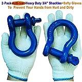 Pack of 2 D Shackle 3/4 Shackle Blue Shackles 3/4 D-Ring Shackle 3/4 Shackles, 4.74 Ton D Ring Anchor Shackle for Towing D Ring Shackles Blue Powder Coated Shackles