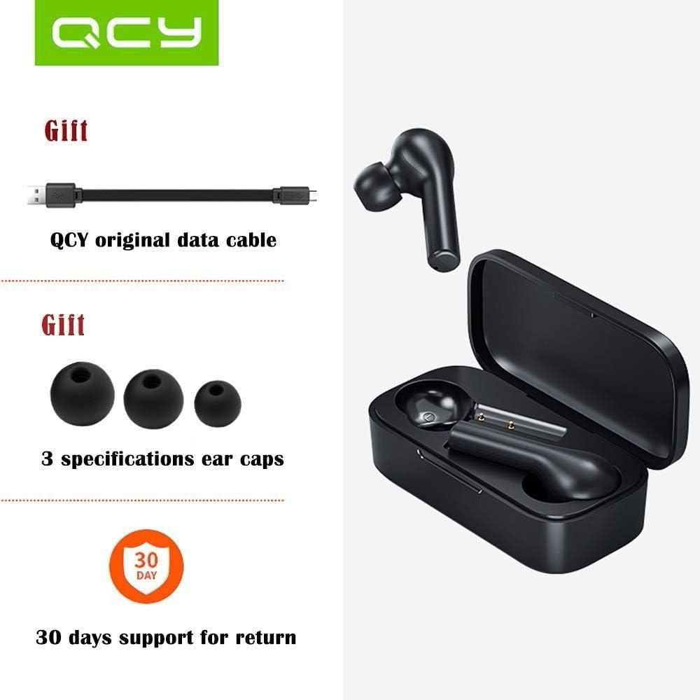 hifi QCY T5 Auriculares Inalámbricos Bluetooth Verdaderos, Los Auriculares El Modo De Juego, Bluetooth 5.0 De Baja Latencia 60ms, Auriculares Deportivos Inalámbricos (Negro)