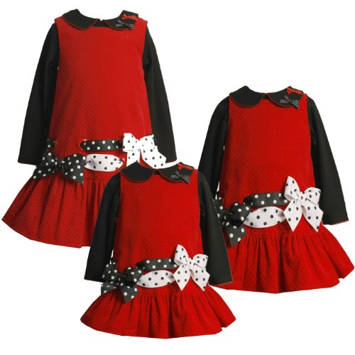 Bonnie Jean Baby 12M-24M PULL-THRU RIBBONS BOWS CORDUROY JUMPER Dress Set