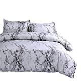 WINLIFE 3D Marble Line Print Duvet Cover Simple Plain Reversible Bedding Set Queen