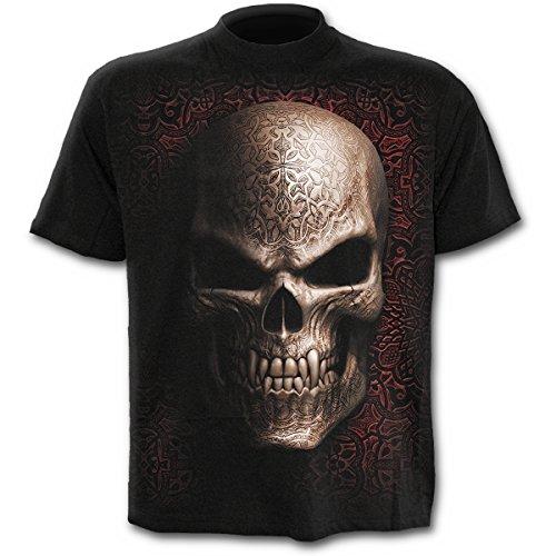 Spiral Goth Skull T - Shirt, schwarz