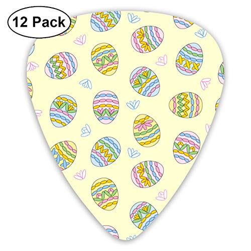 Easter Resurrection Colored Egg Flowers Small Medium Large 0.46 0.73 0.96mm Mini Flex Assortment Plastic Top Classic Rock Electric Acoustic Guitar Pick Accessories Variety Pack -