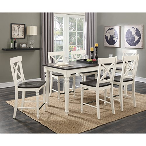 Emerald Home Mountain Retreat Dark Mocha and Antique White Dining Table with Plank Style Top And Self Storing Extension Leaf