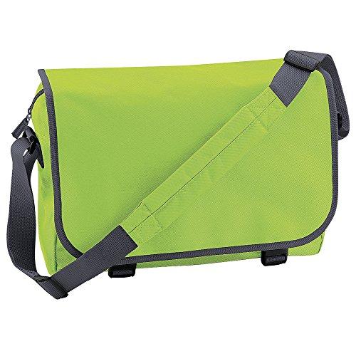 BagBase bolsa de mensajero verde - Lime Green/ Graphite grey