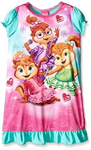 Alvin and the Chipmunks Little Girls' Chipette Rock Stars At Heart Nightgown, Pink, 4