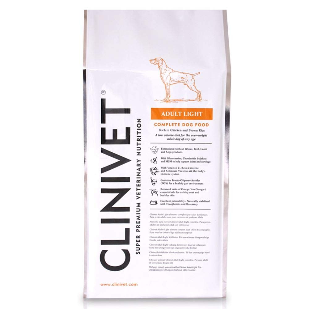 Clinivet Adult Light Super Premium Natural Hypoallergenic Complete Dry Dog Food Rich in Predein and Vitamins, 15kg