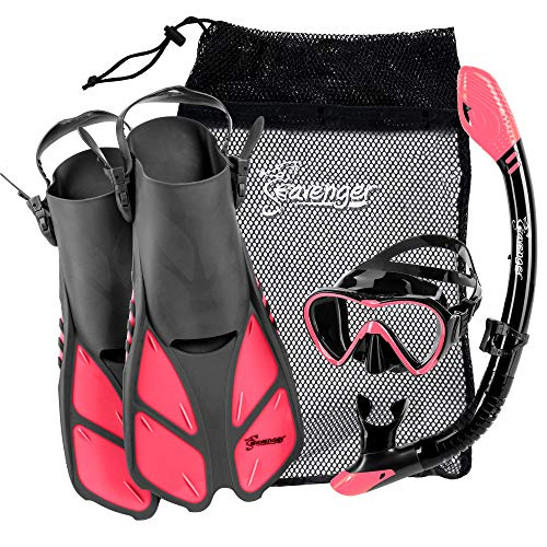 Seavenger Aviator Snorkeling Set | Travel Trek Fins, Dive Mask, Dry Top Snorkel and Gear Bag | Kids and Adults (Gray/Black Silicone/Coral Pink,