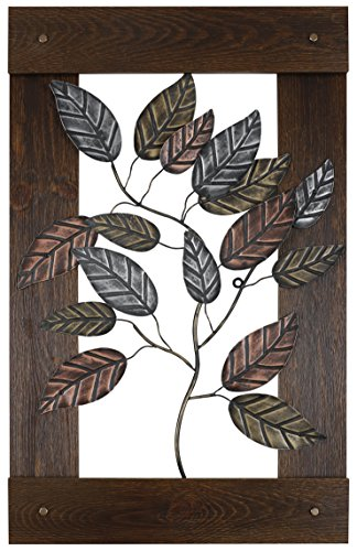 HobbitHoleCo 24-Inch by 39.25-Inch Mixed Media Metal Art Décor, Sam O., Metal Leaves by HobbitHoleCo