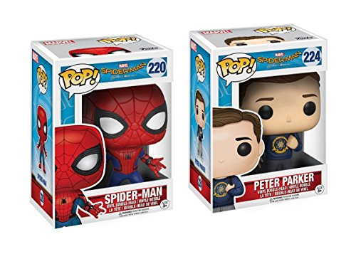 Spider Man New Suit (Funko POP Marvel Spider-Man Homecoming Spider-Man New Suit & Peter Parker Action Figure)