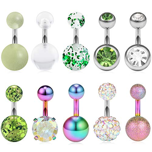 Ruifan 10PCS 14G 6mm 1/4 Inch 316L Surgical Steel CZ Short Belly Earring Navel Button Rings Set - Rainbow