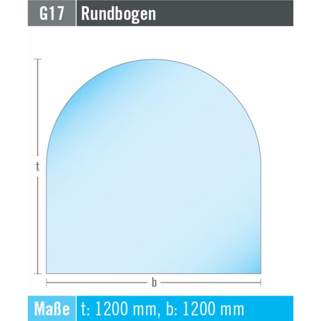 EHV Kamin Funkenschutz Bodenplatte Rundbogen 1200 mm x 1200 mm