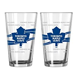 NHL Toronto Maple Leafs Satin Etch Pint, 16-ounce, 2-Pack