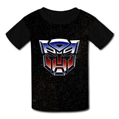Kids Transformers-Logo Costume Short Sleeve T Shirt Tee For Boys (Black)